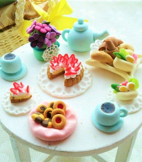 クレイ:ミニチュアフード 春のテーブルコーディネート