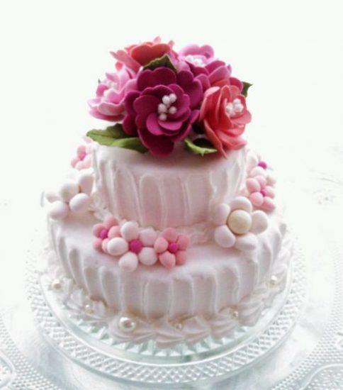 ピンクのお花 クレイアロマケーキ