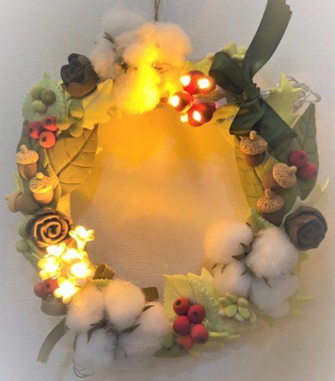 今年のクリスマスリースは光っちゃいます^^